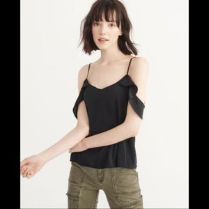 Abercrombie cold shoulder top (black) - size S